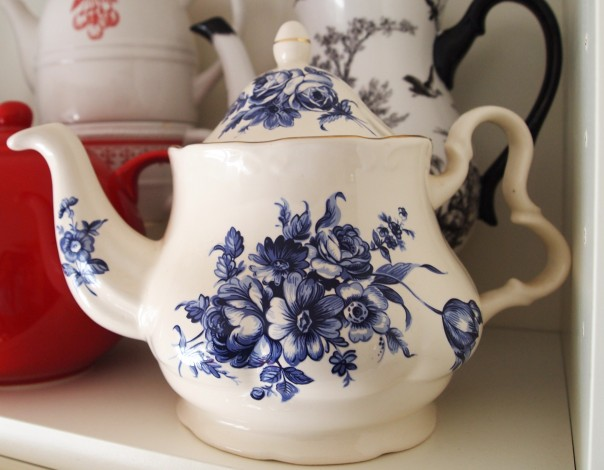 teapot with blue flowers