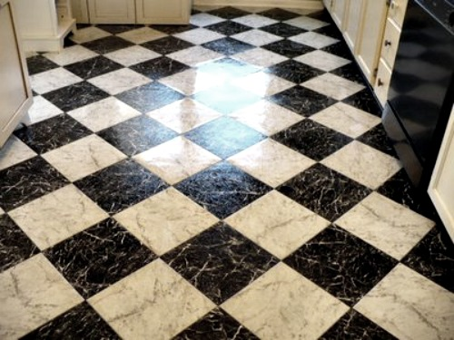 black and white checkerboard kitchen floor A Cultivated Nest
