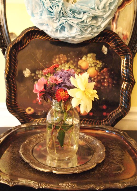 flowers in a ball jar