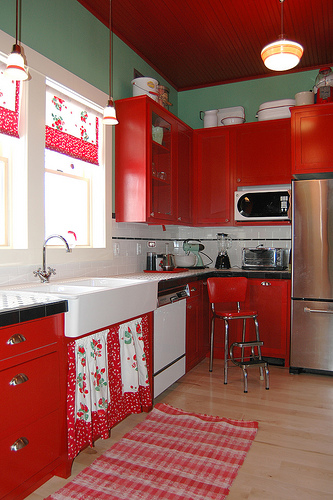 red cottage style kitchen