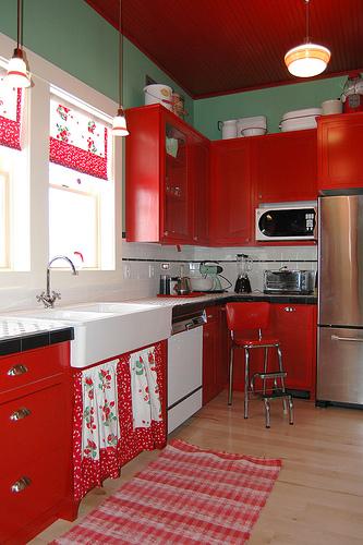 red cottage style kitchen
