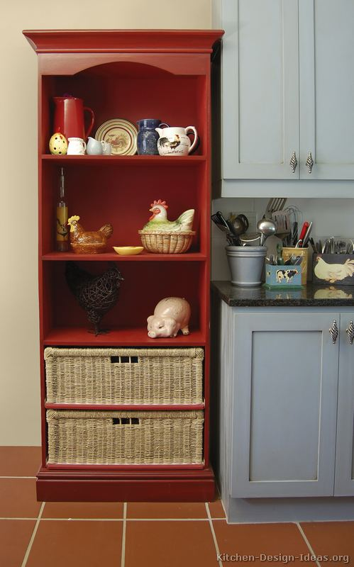 white & red cottage kitchen designs | red bookcase in kitchen