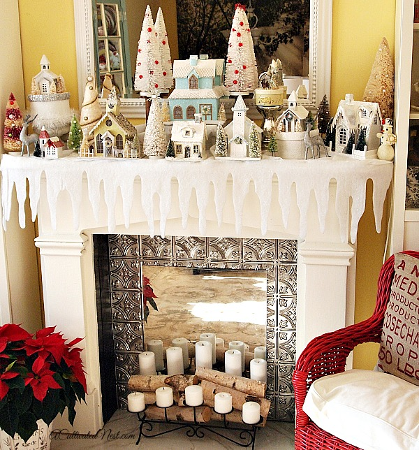 Christmas Glitter House Village Mantel Display