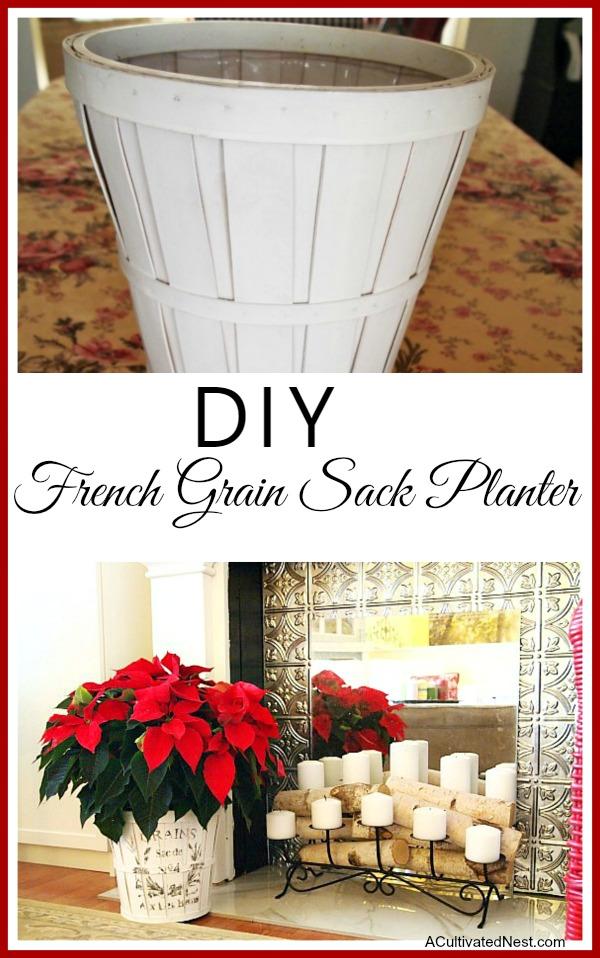 DIY Christmas Decoration idea - French Grain Sack Freezer Paper Transfer Method