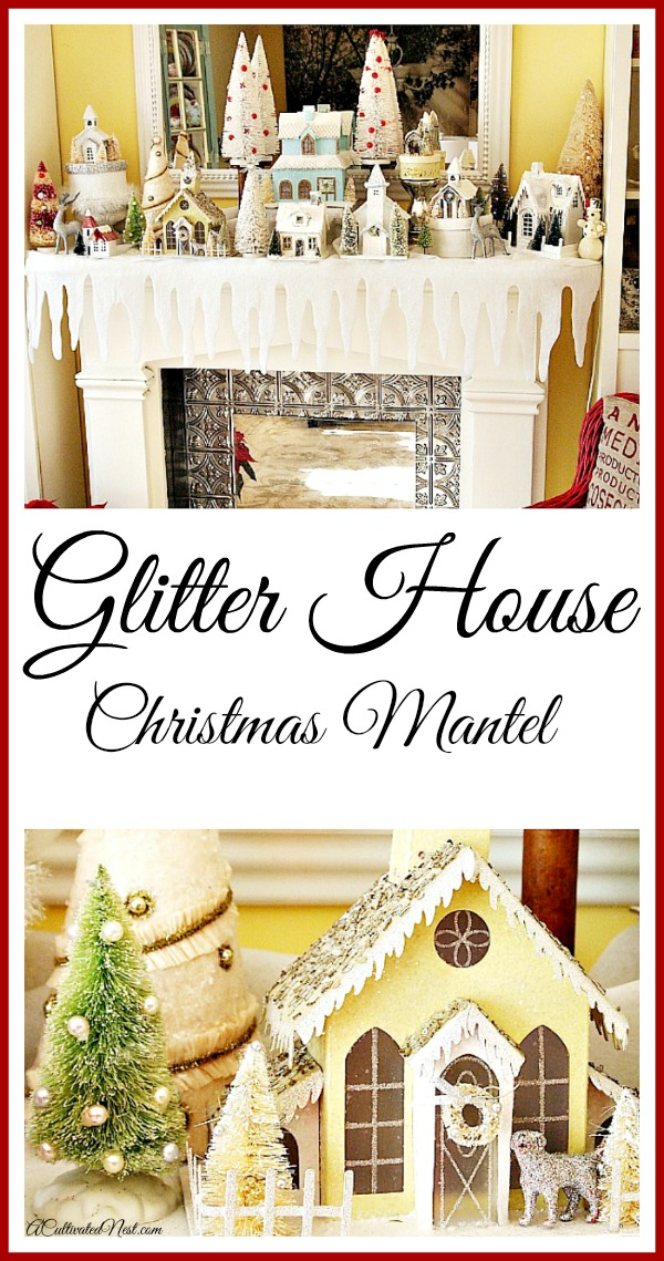 Pretty Glitter House Christmas Mantel Display!