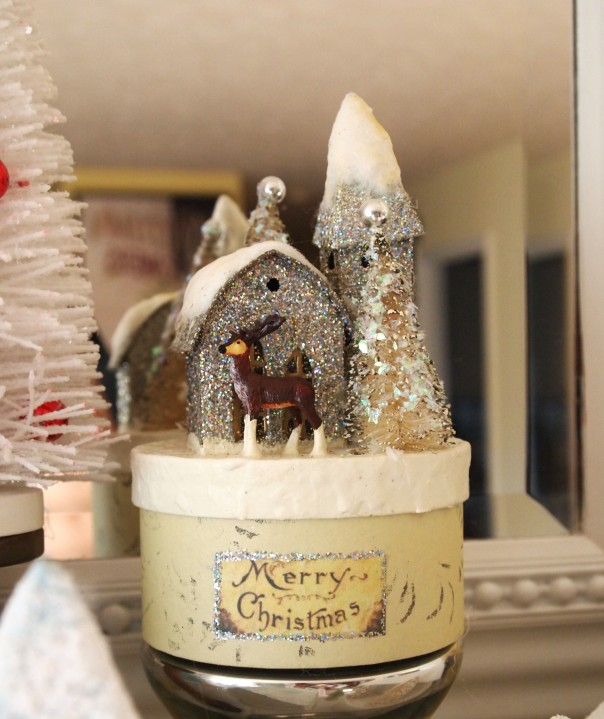 Merry Christmas Glitter House  Mantel