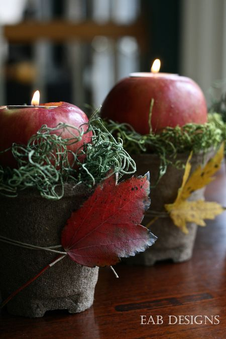 Thanksgiving Apple Votives- Transform your space with these inspired ideas for your Thanksgiving table. They are elegant, gorgeous, and easy to replicate, too! | #Thanksgiving #ThanksgivingCenterpiece #ThanksgivingDecor #ThanksgivingTable #ACultivatedNest