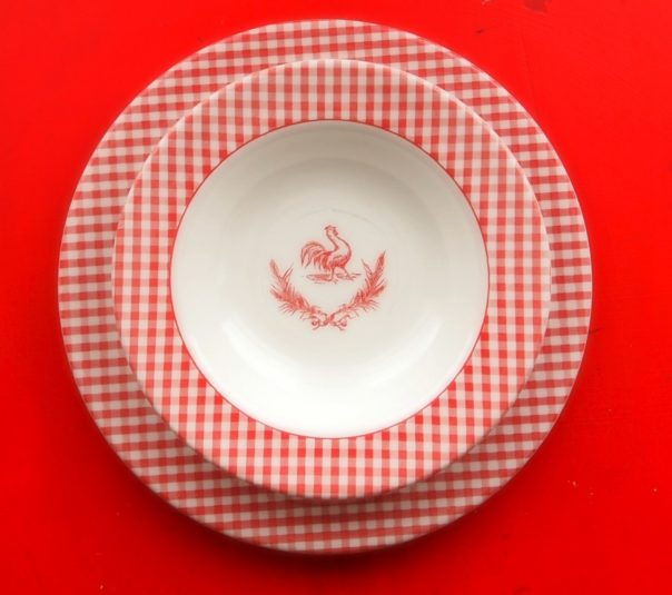 gingham & rooster bowl - A Cultivated Nest