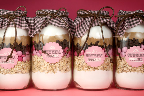 cow girl cookie mix in a jar