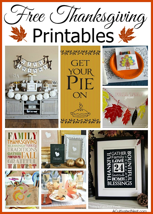 Free Thanksgiving Printables- These 13 free Thanksgiving printables will help keep your kids busy and make your home look beautiful for the holiday! | #Thanksgiving #freePrintables #printables #wallArt #ACultivatedNest