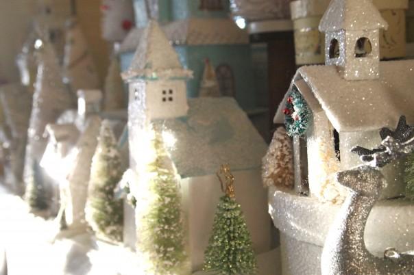 Christmas Glitter Houses - Christmas mantel