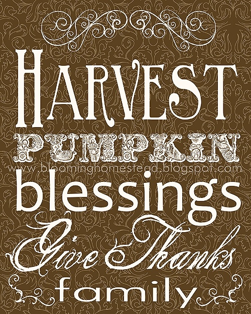 harvest printable for Thanksgiving