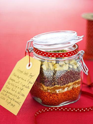 lentil soup in a jar