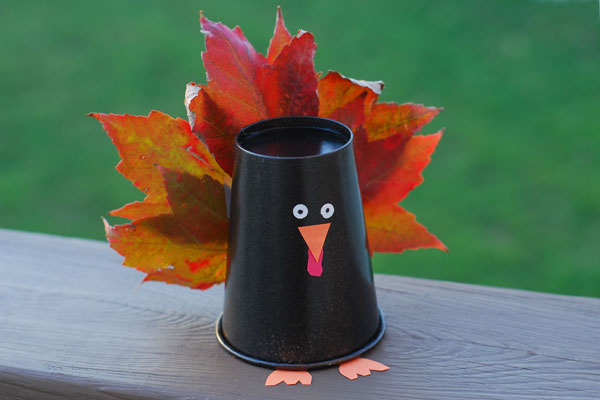 paper cup turkey craft for kids
