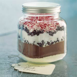 peppermint stick cocoa mix in a jar