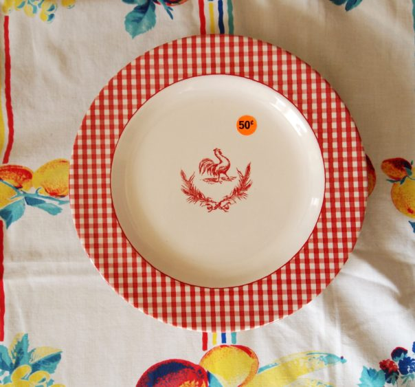 red gingham rooster plate - A Cultivated Nest