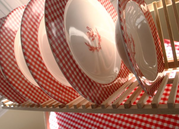 red gingham & rooster Plates - A Cultivated Nest