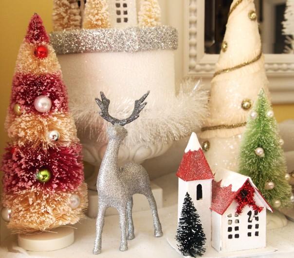 red & white bottle brush tree via A Cultivated Nest - Christmas Glitter House Mantel