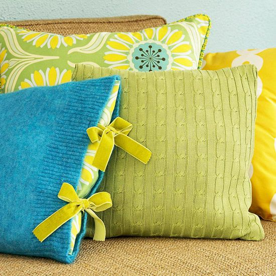 Sweater pillow ideas from BHG
