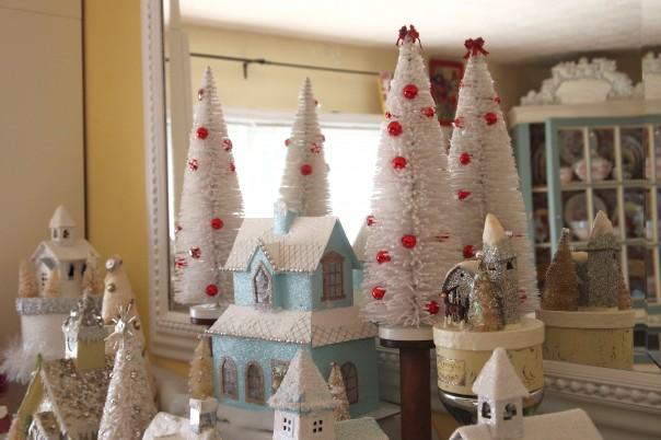 bottle brush tree on vintage spool   Christmas Glitter House