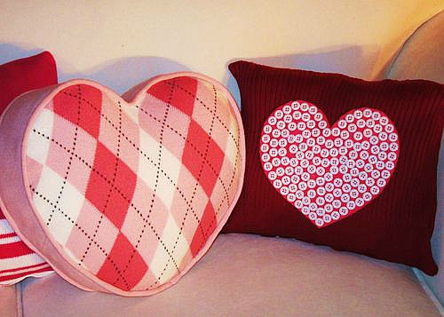 upcycled sweater pillow for Valentine's Day