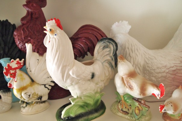 thrifted vintage roosters - A Cultivated Nest
