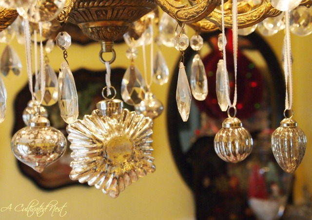 Chandelier With Mercury Glass Ornaments