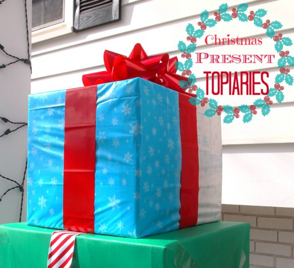 Great holiday curb appeal project! DIY Christmas Present Topiary