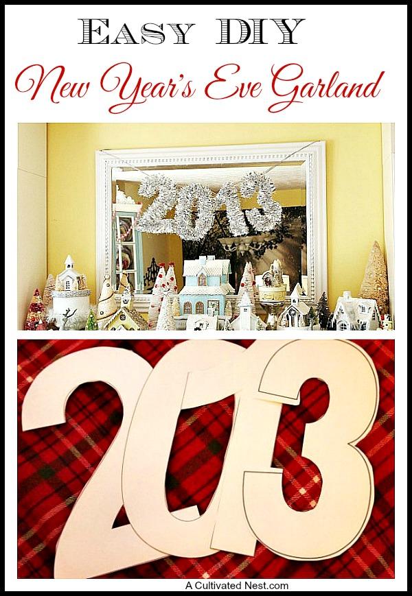 So pretty! Easy DIY New Year's Eve Garland!