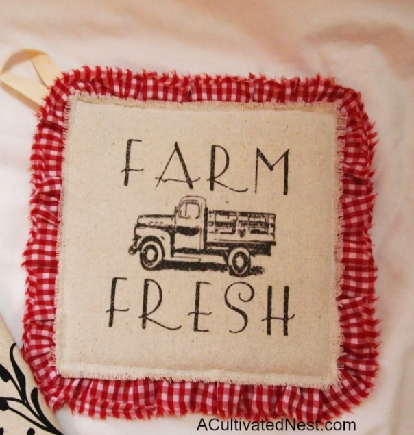 ACultivatedNest.com - Red Gingham Farm Fresh Hotpad