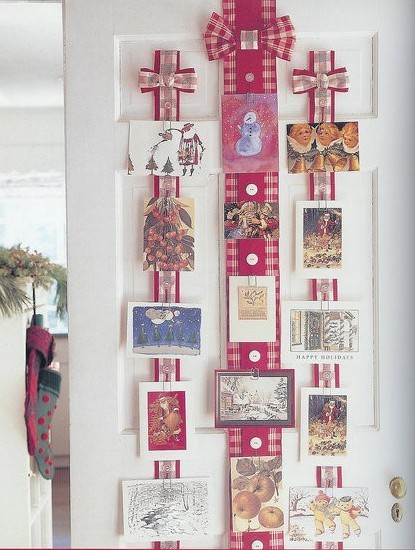 Holiday ribbon Christmas card display