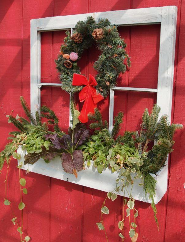 planter window on barn