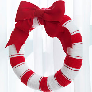 candy cane yarn wreath