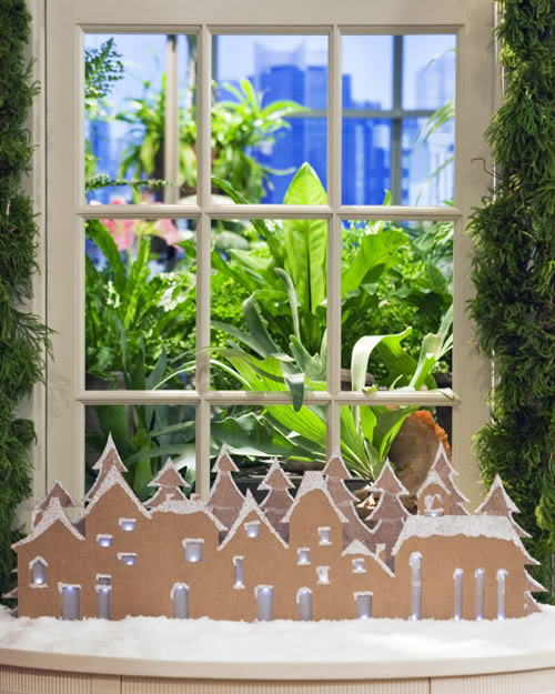Easy Christmas Decorating idea like this cardboard Christmas Village from Martha Stewart