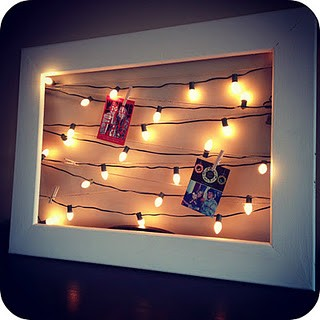 Christmas card display with lights