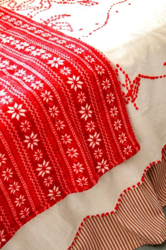 red winter throw on redwork blanket