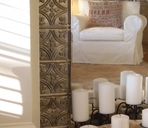 ceiling tin fireplace makeover