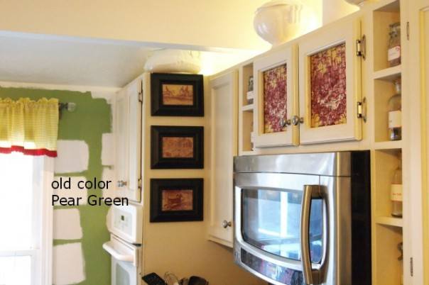 testing colors on kitchen wall