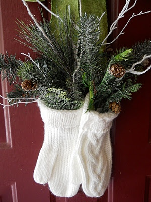 Easy Christmas decorating idea like filling a mitten with Christmas Greens (makes a cute wreath)