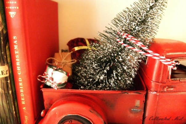 red toy farm truck & bottle brush tree