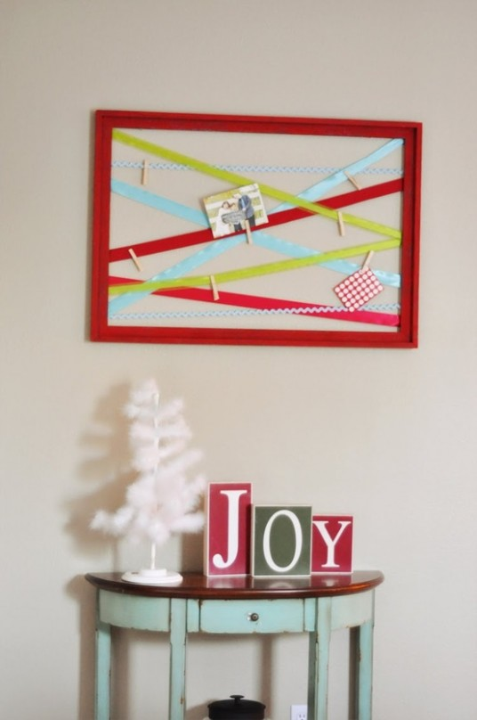 ribbon Christmas card display