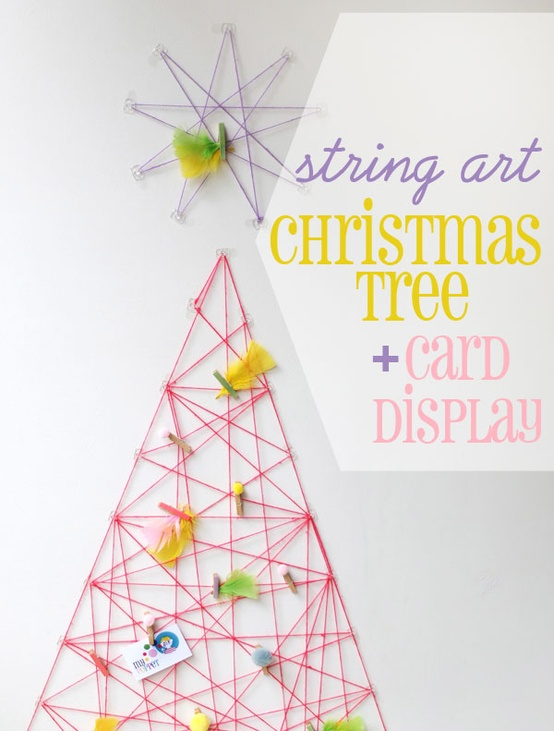 string art Christmas tree & card holder