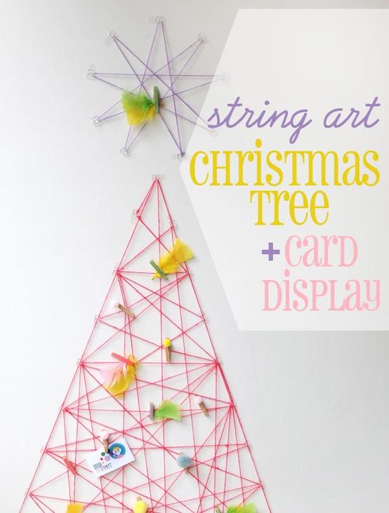 string art Christmas tree & card holder