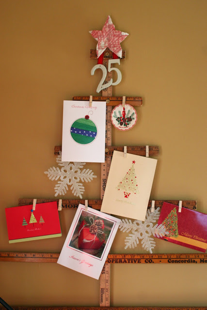 yardstick Christmas card holder