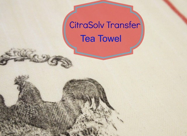 Easy tea towel project for your kitchen! This is an image transfer process using CitraSolv. I mean this is the easiest home decor project I've ever done!