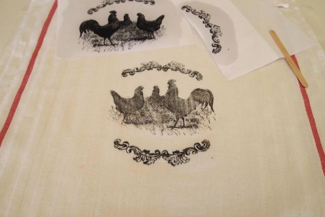 image transferred to tea towel