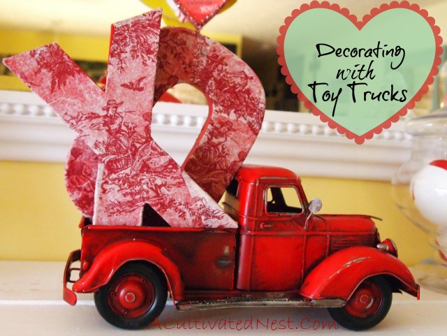 decorating with toy trucks