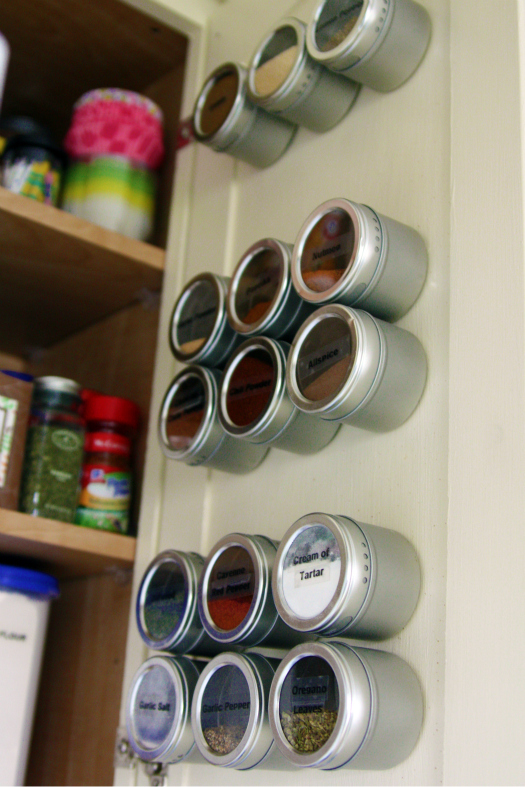 spice cupboard organization - magnetic spice cabinet door