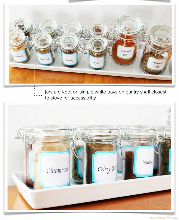 Labeled Spices on a Tray- Get your spices organized quickly and easily with these great spice cupboard organization ideas! Spice drawer organizing tips also included! | spice cabinet organization, spice drawer organizing hacks, how to organize your spices, kitchen organizing ides, #organizingTips #organization #ACultivatedNest