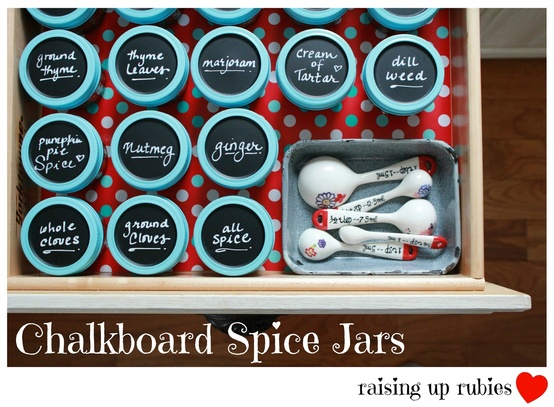 Chalkboard Spice Jars- Get your spices organized quickly and easily with these great spice cupboard organization ideas! Spice drawer organizing tips also included! | spice cabinet organization, spice drawer organizing hacks, how to organize your spices, kitchen organizing ides, #organizingTips #organization #ACultivatedNest